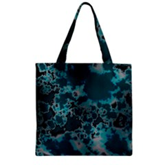 Unique Marbled Teal Zipper Grocery Tote Bags