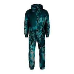 Unique Marbled Teal Hooded Jumpsuit (Kids)