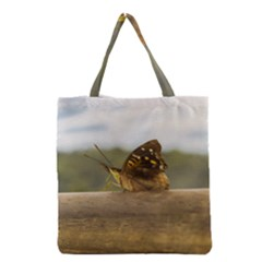 Butterfly against Blur Background at Iguazu Park Grocery Tote Bags