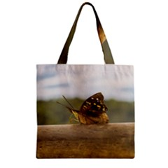 Butterfly against Blur Background at Iguazu Park Zipper Grocery Tote Bags