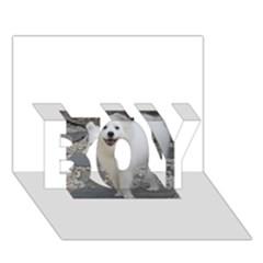 American Eskimo Dog Full BOY 3D Greeting Card (7x5)