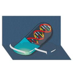 Dna Capsule Twin Heart Bottom 3d Greeting Card (8x4)