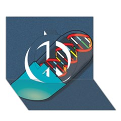 Dna Capsule Peace Sign 3D Greeting Card (7x5)