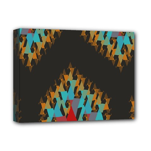 Blue, Gold, And Red Pattern Deluxe Canvas 16  X 12