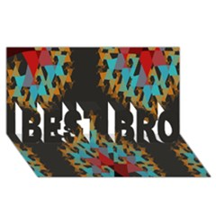 Blue, Gold, and Red Pattern BEST BRO 3D Greeting Card (8x4)