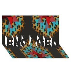 Blue, Gold, And Red Pattern Engaged 3d Greeting Card (8x4)