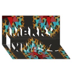 Blue, Gold, and Red Pattern Merry Xmas 3D Greeting Card (8x4)