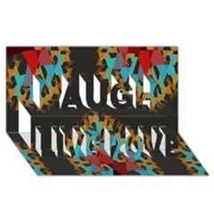 Blue, Gold, and Red Pattern Laugh Live Love 3D Greeting Card (8x4)