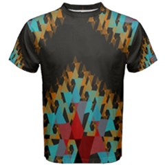 Blue, Gold, and Red Pattern Men s Cotton Tees