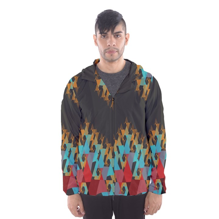 Blue, Gold, and Red Pattern Hooded Wind Breaker (Men)