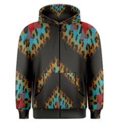 Blue, Gold, And Red Pattern Men s Zipper Hoodies