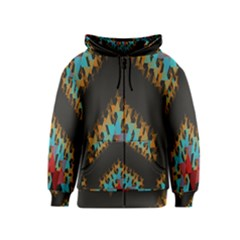 Blue, Gold, And Red Pattern Kids Zipper Hoodies