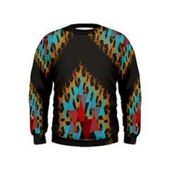 Blue, Gold, And Red Pattern Boys  Sweatshirts