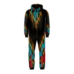 Blue, Gold, and Red Pattern Hooded Jumpsuit (Kids)