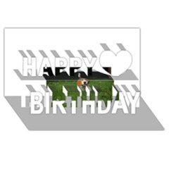 Beagle Walking Happy Birthday 3D Greeting Card (8x4)