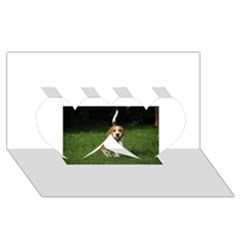 Beagle Walking Twin Hearts 3D Greeting Card (8x4)