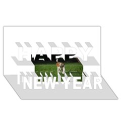 Beagle Walking Happy New Year 3D Greeting Card (8x4)