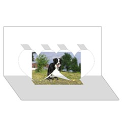 Border Collie Full 3 Twin Hearts 3D Greeting Card (8x4)