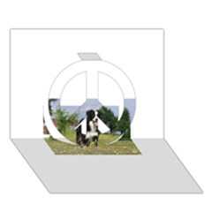 Border Collie Full 3 Peace Sign 3D Greeting Card (7x5)