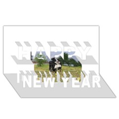 Border Collie Full 3 Happy New Year 3D Greeting Card (8x4)