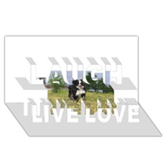 Border Collie Full 3 Laugh Live Love 3D Greeting Card (8x4)