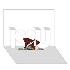 Red Tri Peeping  Aussie Dog I Love You 3D Greeting Card (7x5)