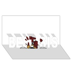 Red Tri Peeping  Aussie Dog BEST SIS 3D Greeting Card (8x4)