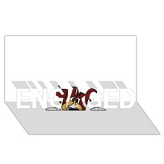 Red Tri Peeping  Aussie Dog ENGAGED 3D Greeting Card (8x4)
