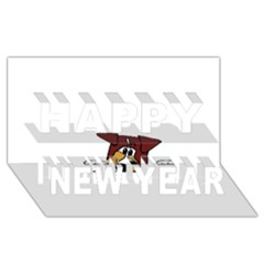 Red Tri Peeping  Aussie Dog Happy New Year 3D Greeting Card (8x4)