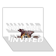 Red Merle Peeking  Aussie YOU ARE INVITED 3D Greeting Card (7x5)