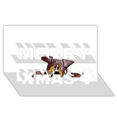 Red Merle Peeking  Aussie Merry Xmas 3d Greeting Card (8x4)