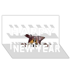 Red Merle Peeking  Aussie Happy New Year 3D Greeting Card (8x4)