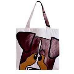 Red Merle Peeking  Aussie Zipper Grocery Tote Bags