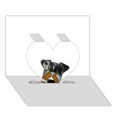 Blue Merle Peeking Aussie Heart 3D Greeting Card (7x5)