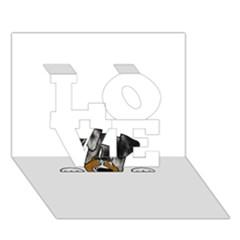 Blue Merle Peeking Aussie LOVE 3D Greeting Card (7x5)
