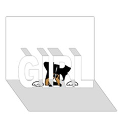 Black Tri Peeping Aussie Dog GIRL 3D Greeting Card (7x5)
