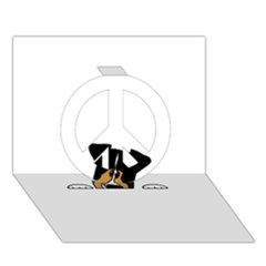 Black Tri Peeping Aussie Dog Peace Sign 3D Greeting Card (7x5)