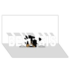 Black Tri Peeping Aussie Dog BEST SIS 3D Greeting Card (8x4)