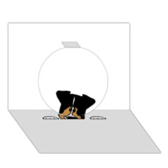 Black Tri Peeping Aussie Dog Circle 3D Greeting Card (7x5)