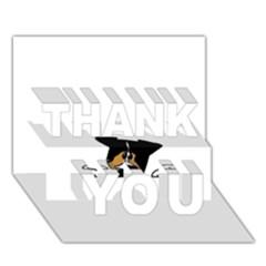 Black Tri Peeping Aussie Dog THANK YOU 3D Greeting Card (7x5)