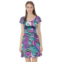 Art Deco Candy Short Sleeve Skater Dresses