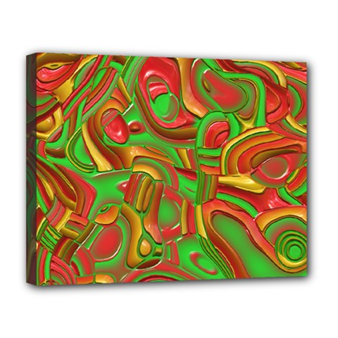 Art Deco Red Green Canvas 14  x 11