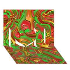 Art Deco Red Green I Love You 3d Greeting Card (7x5)