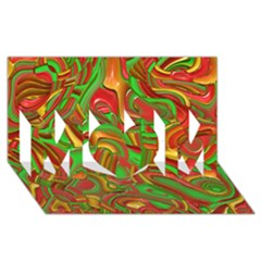 Art Deco Red Green MOM 3D Greeting Card (8x4)
