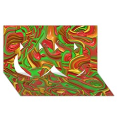 Art Deco Red Green Twin Hearts 3D Greeting Card (8x4)