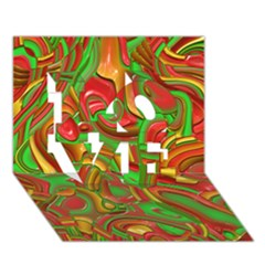 Art Deco Red Green LOVE 3D Greeting Card (7x5)