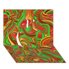Art Deco Red Green Apple 3D Greeting Card (7x5)