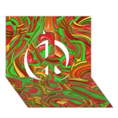 Art Deco Red Green Peace Sign 3D Greeting Card (7x5)