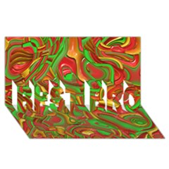 Art Deco Red Green Best Bro 3d Greeting Card (8x4)