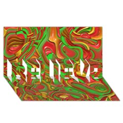 Art Deco Red Green Believe 3d Greeting Card (8x4)